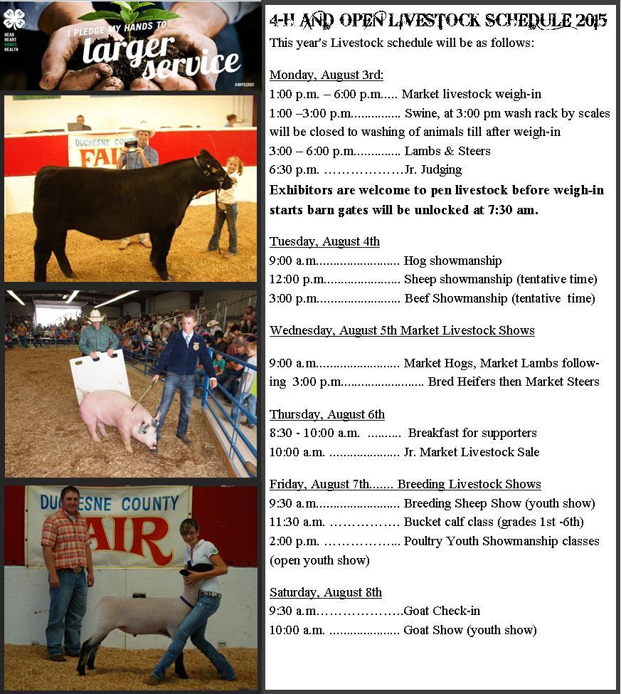 2015 Livestock Schedule