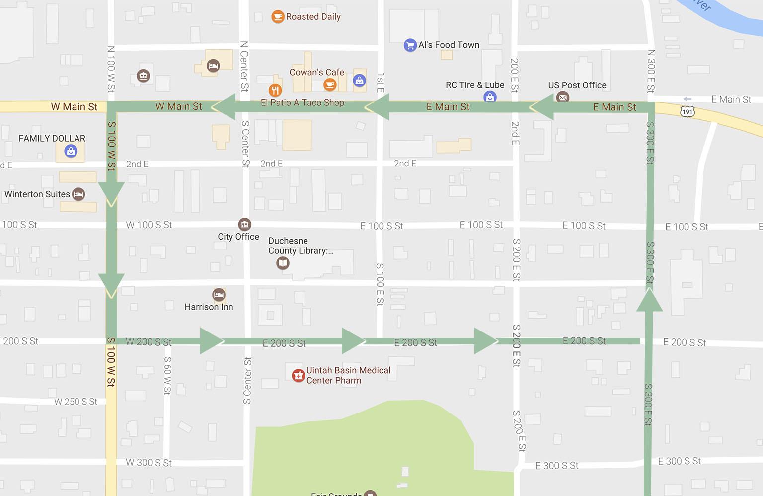 Duchesne County Fair Parade Route